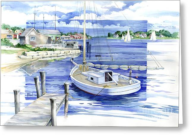 Blue Sailboat Greeting Cards - Harbor View Greeting Card by Paul Brent