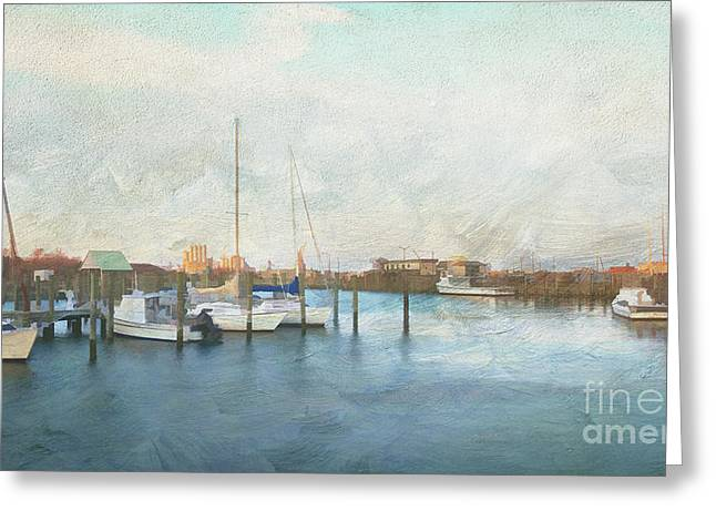 Delmarva Greeting Cards - Harbor Morning Greeting Card by Terry Rowe