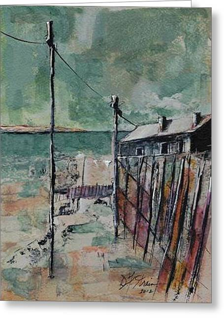 Sand Fences Mixed Media Greeting Cards - Harbormasters Home Away from Home Greeting Card by Diane Strain