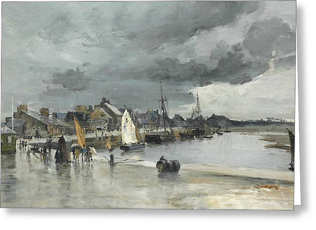 Docked Sailboat Greeting Cards - Harbour at St. Vaast The Hague Greeting Card by Frank Myers Boggs