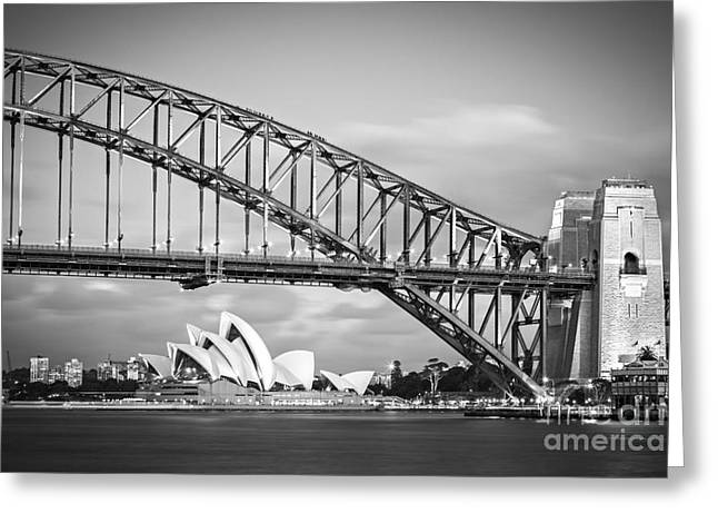 Sydney Harbour Greeting Cards - Harbour Bridge and Opera House Sydney Greeting Card by Colin and Linda McKie