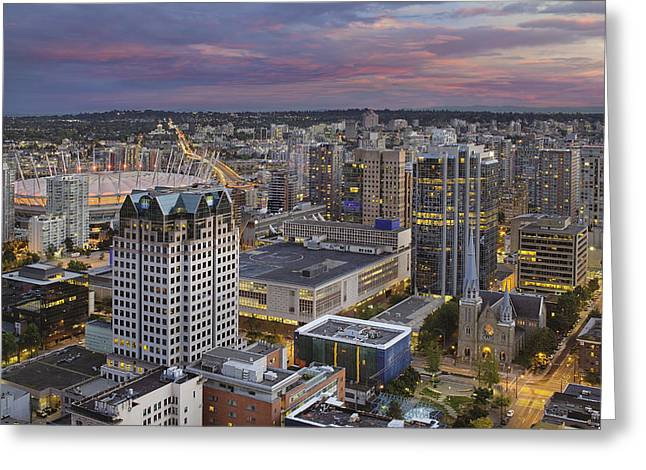 Cambie Bridge Greeting Cards - Harbour Center Lookout Vancouver BC Greeting Card by David Gn