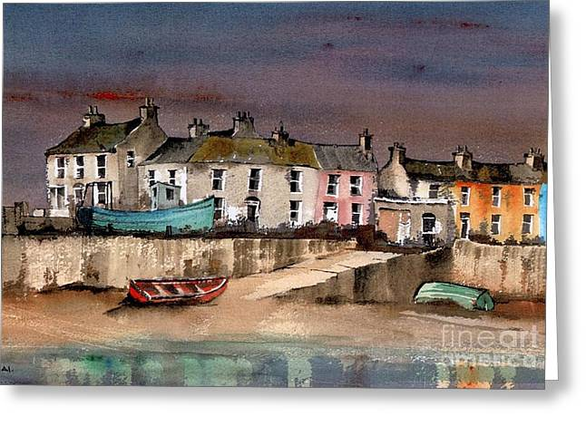 Val Byrne Greeting Cards - Harbour Dusk Greystones Wicklow Greeting Card by Val Byrne