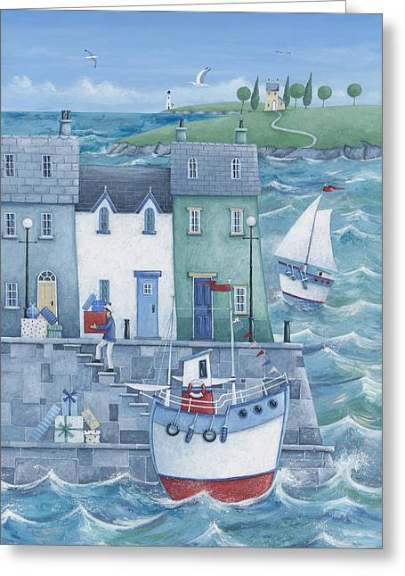 Coloured Photographs Greeting Cards - Harbour Gifts Greeting Card by Peter Adderley
