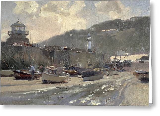 Cornish Beaches Greeting Cards - Harbour Light, St. Ives Oil On Canvas Greeting Card by Trevor Chamberlain