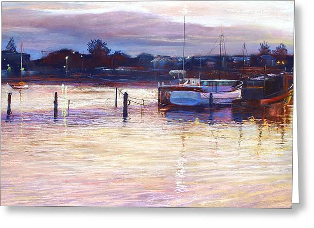 Lynda Robinson Greeting Cards - Harbour Lights - Apollo Bay Greeting Card by Lynda Robinson