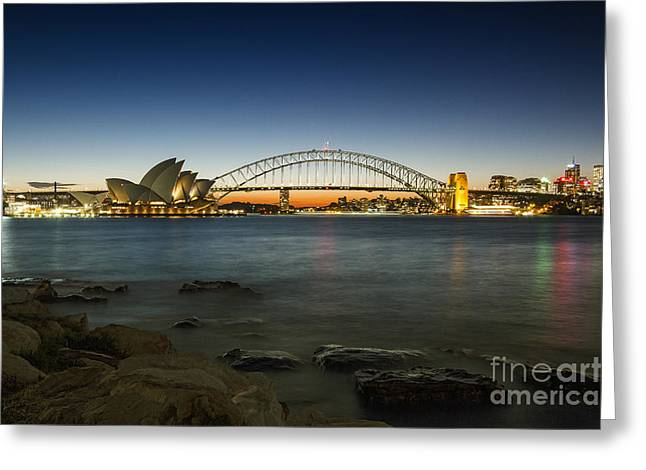 Harbour Night Greeting Card by Andrew Paranavitana