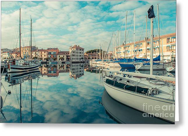 South Italy Greeting Cards - Harbour of Grado Greeting Card by Hannes Cmarits