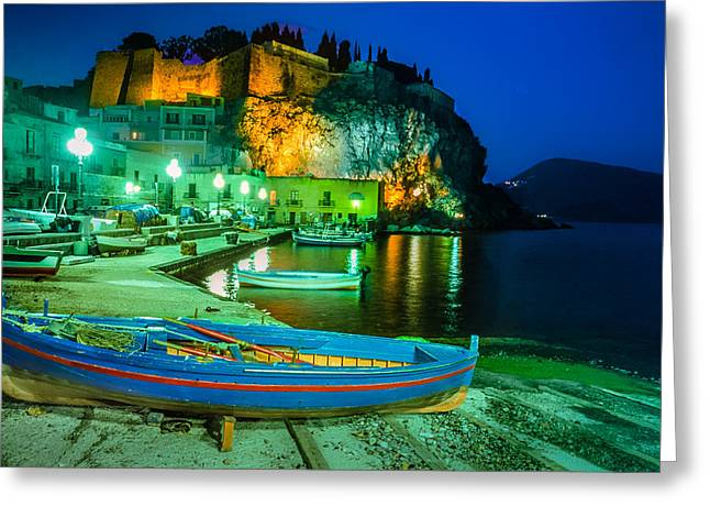 Inseln Greeting Cards - Harbour of Lipari at night - Sicily Greeting Card by Martin Liebermann