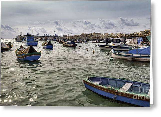 Maltese Greeting Cards - Harbour of Marsaxlokk in Malta Greeting Card by Frank Bach