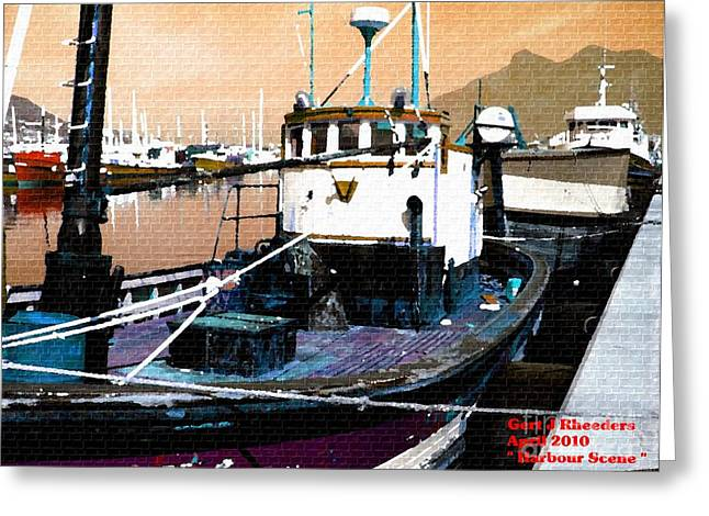 Cellphone Greeting Cards - Harbour Scene Greeting Card by Gert J Rheeders