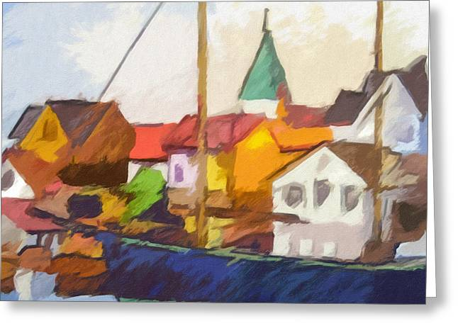 Fishing Village Greeting Cards - Harbour Seascape Greeting Card by Lutz Baar