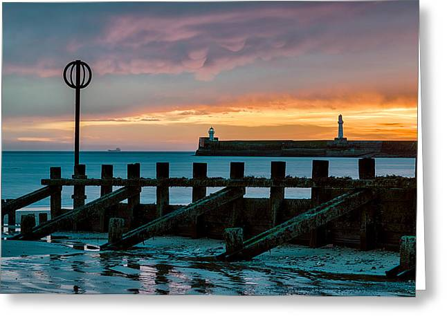 Harbour Wall Greeting Cards - Harbour Sunrise Greeting Card by Dave Bowman