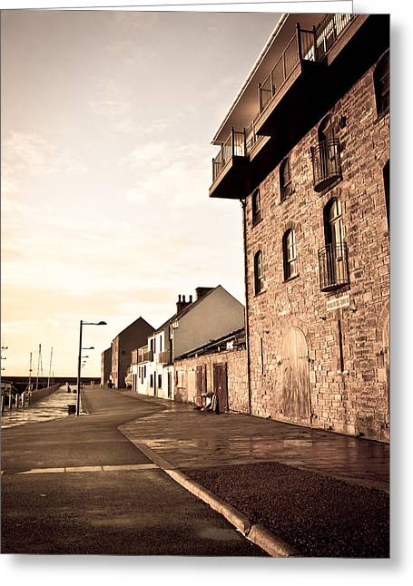 Blue Brick Greeting Cards - Harbour Greeting Card by Tom Gowanlock