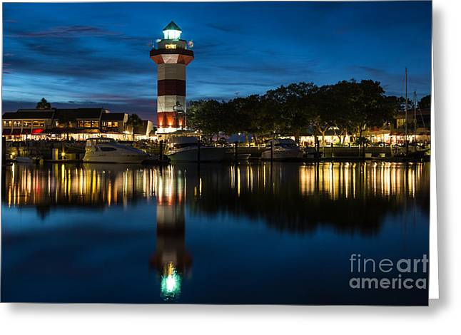 Boats At Dock Greeting Cards - Harbour Town and the Lighthouse at Twilight Hilton Head Island South Carolina Greeting Card by Dawna  Moore Photography