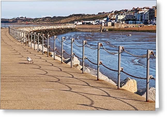 Harbour Wall Greeting Cards - Harbour Wall Promenade Greeting Card by Gill Billington