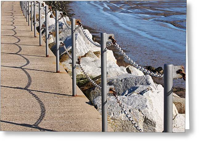 Harbour Wall Greeting Cards - Harbour Wall Shadows Greeting Card by Gill Billington