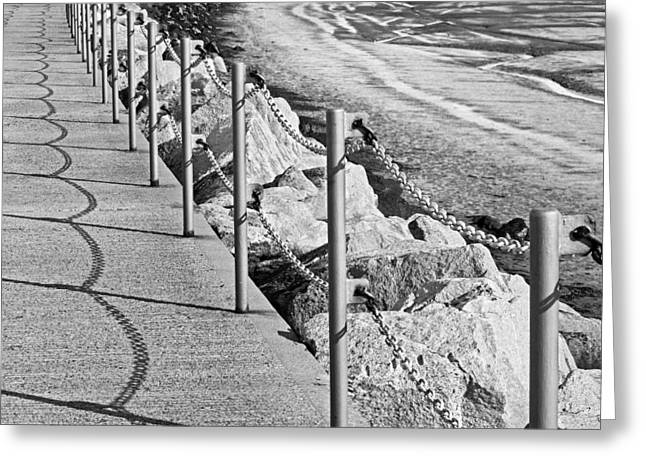 Harbour Wall Greeting Cards - Harbour Wall Shadows in Black and White Greeting Card by Gill Billington