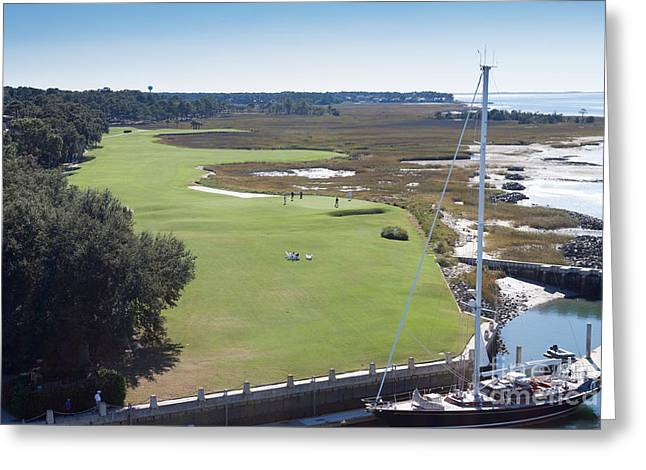 Thomas Marchessault Greeting Cards - Harbourtown Golf Course 18th Hole Greeting Card by Thomas Marchessault