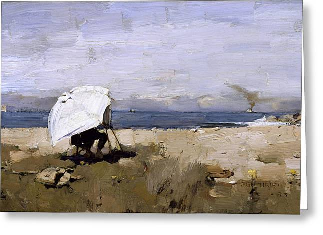 Beach Umbrellas Greeting Cards - Hard At It, 1883 Greeting Card by Sir James Guthrie