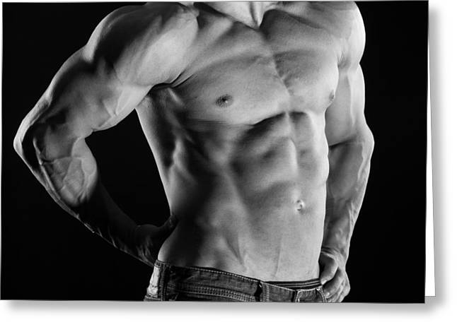 Open Shirt Greeting Cards - Hard Body 3 Greeting Card by Naman Imagery