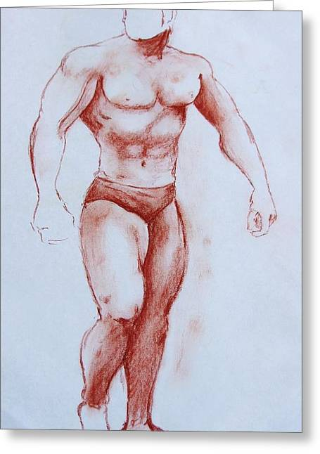 Physical Body Drawings Greeting Cards - Hard body Greeting Card by Henry Gonzales