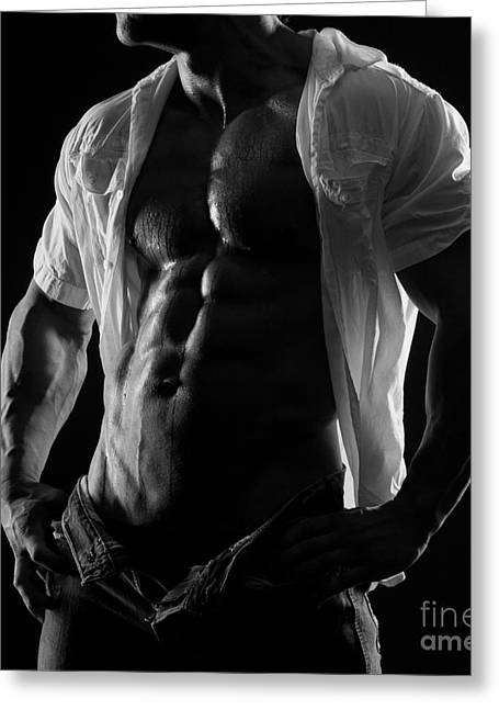 Open Shirt Greeting Cards - Hard Body Greeting Card by Naman Imagery