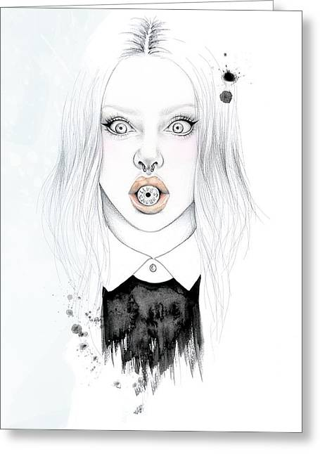 Ink And Pencil Girl Drawings Greeting Cards - Hard Candy Greeting Card by Rebecca Schroeder
