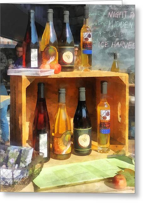 Bottle Greeting Cards - Hard Cider Greeting Card by Susan Savad