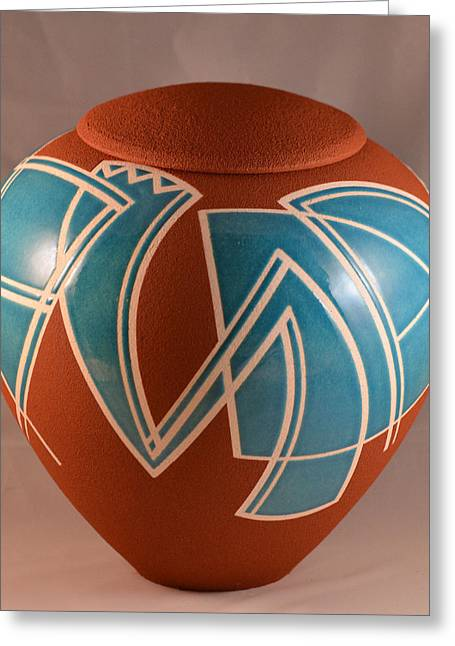 Pot Ceramics Greeting Cards - Hard Edge Rhythms Greeting Card by Chris Tennis