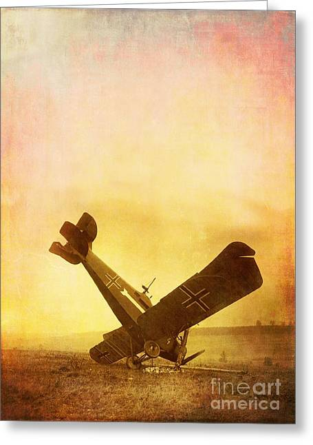 Wwi Greeting Cards - Hard Landing Greeting Card by Edward Fielding