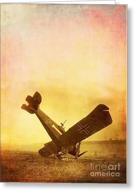 Landing Airplane Greeting Cards - Hard Landing Greeting Card by Edward Fielding