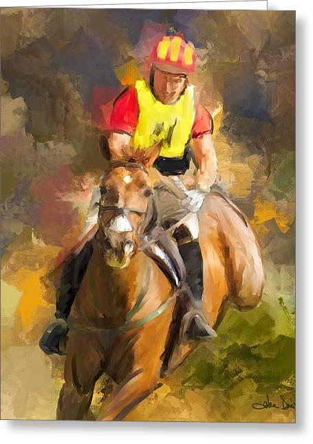 Impressionistic Equine Art Greeting Cards - Hard Left Greeting Card by Joan Davis
