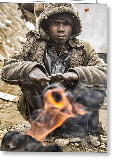 Extreme Poverty Greeting Cards - Hard Life Greeting Card by Abhishek Singh