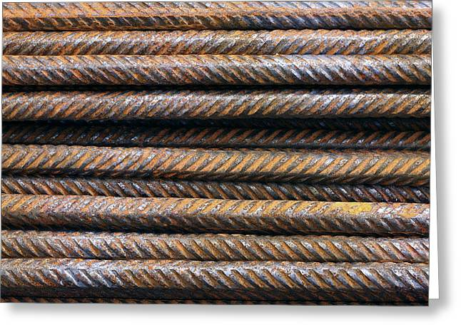 Recently Sold -  - Industrial Background Greeting Cards - Hard Metal Rebar Pattern Greeting Card by Simon Alvinge