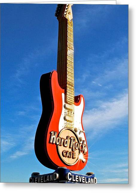 Hard Rock Cafe Greeting Cards - Hard Rock Cafe Cleveland Greeting Card by Frozen in Time Fine Art Photography