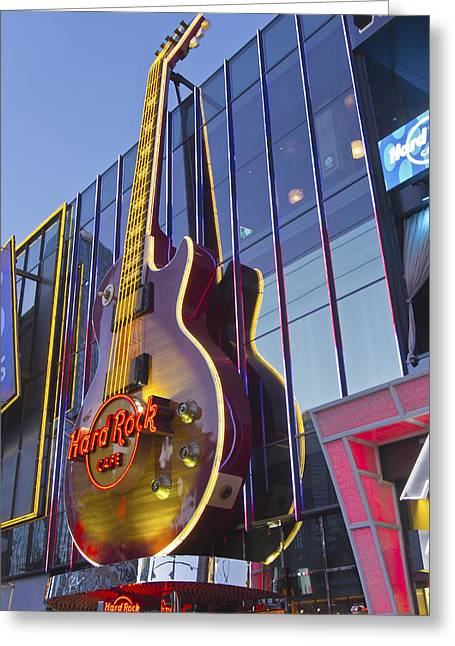 Hard Rock Cafe Building Greeting Cards - Hard Rock cafe entertainment center Las Vegas Nevada Greeting Card by Gino Rigucci