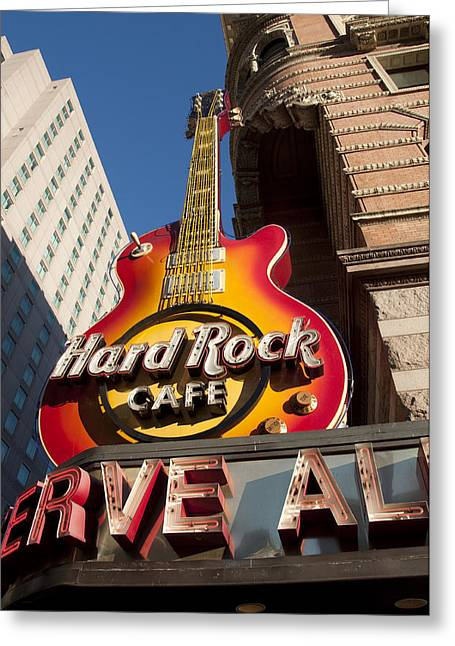 Hard Rock Cafe Greeting Cards - Hard Rock Cafe Guitar Sign in Philadelphia Greeting Card by Bill Cannon