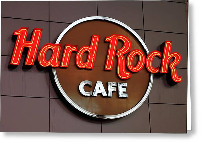 Cafe City Lights Greeting Cards - Hard Rock Cafe Sign Greeting Card by Valentino Visentini