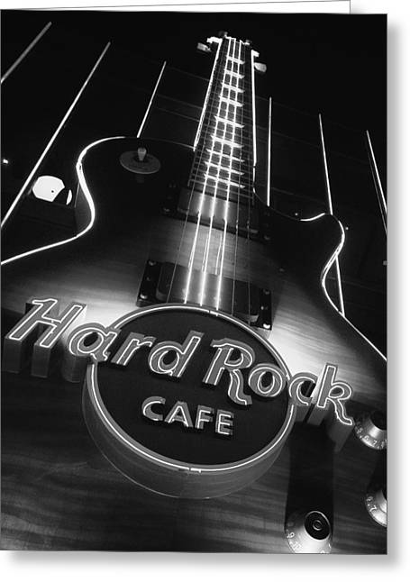 Las Vegas Art Greeting Cards - Hard Rock Cafe Vegas Black and White Greeting Card by Stephanie McDowell