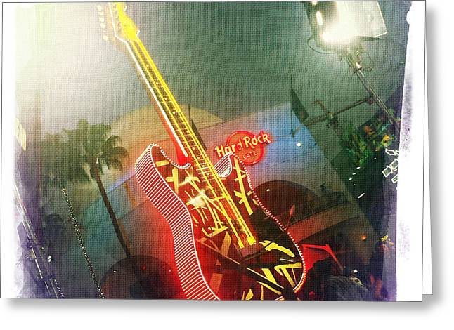 Hard Rock Cafe Building Greeting Cards - Hard Rock guitar 2 Greeting Card by Nina Prommer