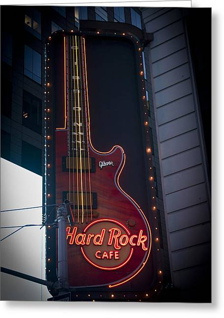 Cafe City Lights Greeting Cards - Hard Rock Guitar NYC Greeting Card by Teresa Mucha