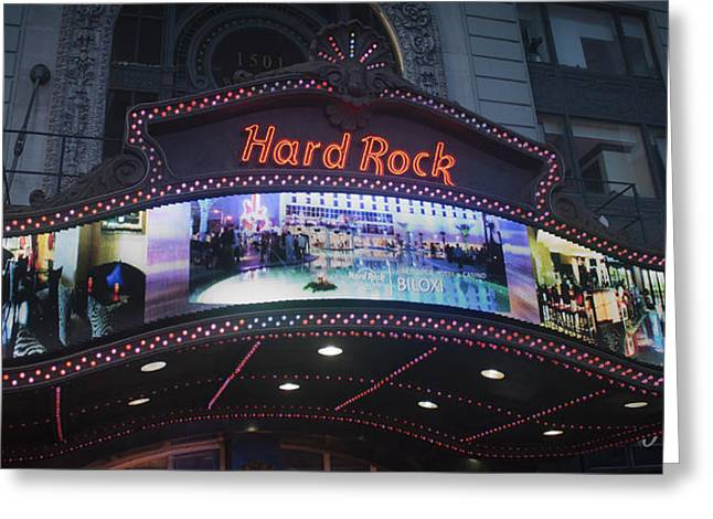 Cafe City Lights Greeting Cards - Hard Rock Marquee NYC Greeting Card by Teresa Mucha