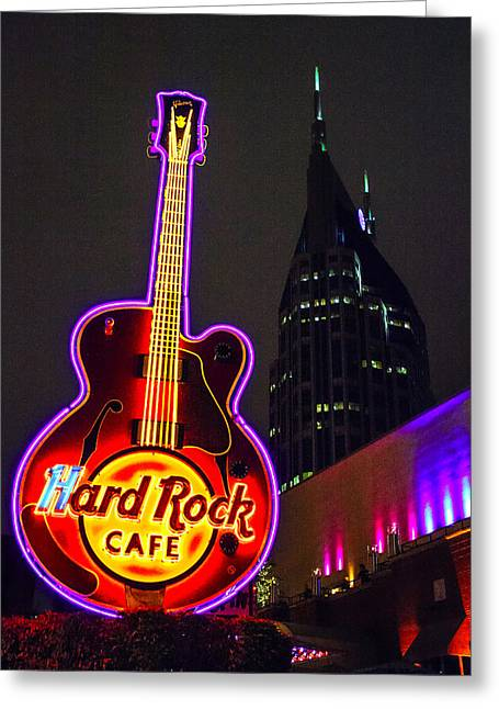 Hard Rock Cafe Building Greeting Cards - Hard Rock Neon Greeting Card by Diana Powell