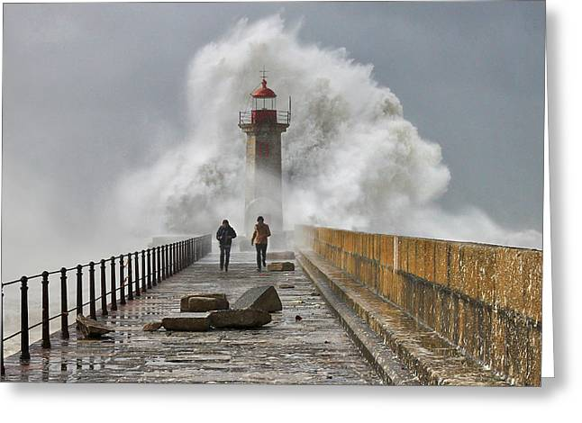 Ocean Photography Pyrography Greeting Cards - Hard Times Greeting Card by Veselin Malinov