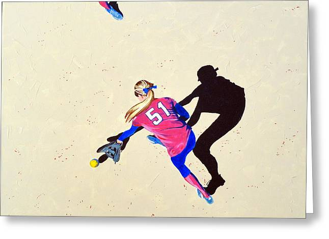 Softball Paintings Greeting Cards - Hard to the Right Greeting Card by Darrell Sheppard