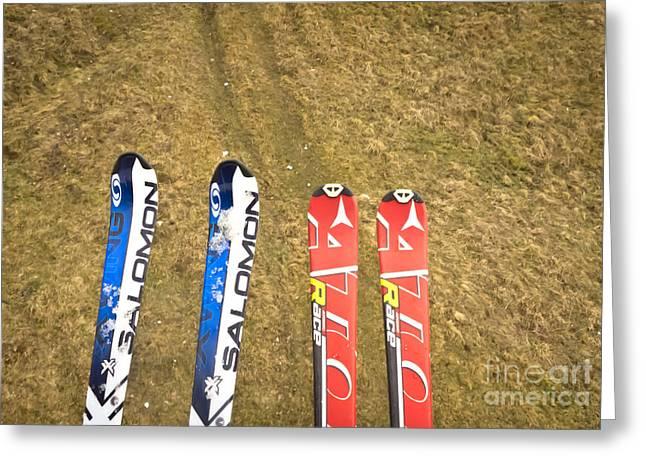 Ski Art Greeting Cards - Hard winter Greeting Card by Agata Wisniowska