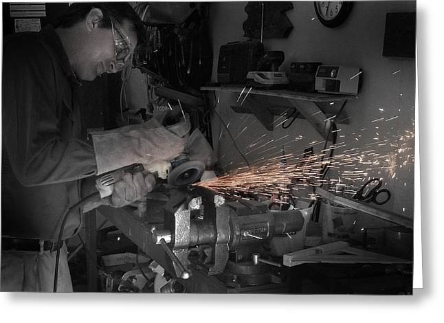Metal Worker Greeting Cards - Hard Work is Good Work Greeting Card by Joseph G Holland