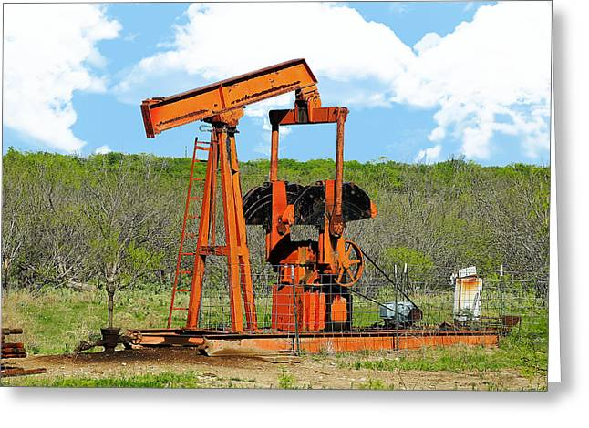 Oil Pumper Photographs Greeting Cards - Hard-working Pump Jack Greeting Card by CJ Grant