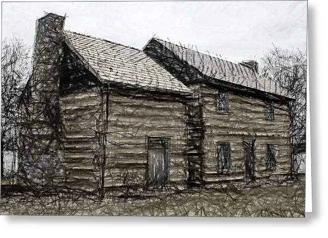 Log Cabin Tapestries - Textiles Greeting Cards -  Lincoln Heritage House 2 - Elizabethtown KY Greeting Card by Thia Stover